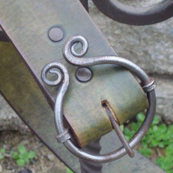 Blacksmith buckle belt | blueflameleather - Accessories on ArtFire