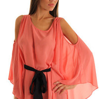 Coral Sexy Long Sleeve Sheer Cold Sholder Top with Sash