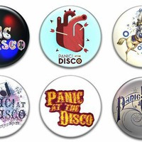 "6 NEW Panic at the Disco 1-1/4"" Pinback Button Badge Shirt Hat Bag Pin PATD Band"
