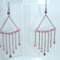 Pink and lavendar chandelier drop earrings
