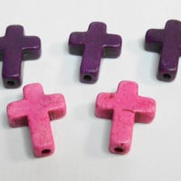 Cross Howlite Turquoise Pink Purple Cross Beads