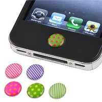 6 Pieces Home Button Sticker compatible with Apple® Iphone® / iPad® / iPod® touch, Dot / Strip