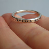 Personalized Ring Tiny Font Heavier Silver by boutonrougedesigns
