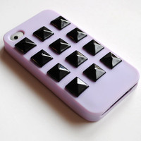Studded iPhone Case Black on Purple Lilac 4 4s by theblackfeather