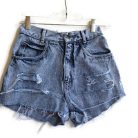 "Acid Wash High Waisted Shorts Distressed Vintage 24"" Waist"
