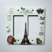 Custom Order for Kim - Parisian themed rocker double light switch cover