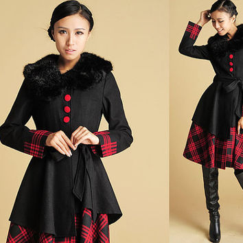 Plaid wool faux-fur collar coat with two layer hem (392)
