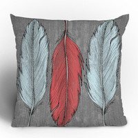 Wesley Bird Feathered Throw Pillow