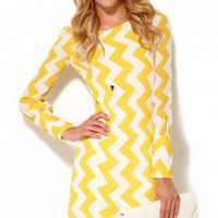 Chevron Long Sleeve Dress in Yellow