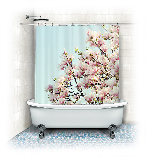 Shower Curtain Magnolias Aqua White From Vintage Chic Images