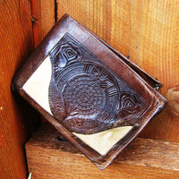 vintage 60's or 70's distressed leather aztec wallet. mexican inspired leather wallet. distressed brown leather wallet with calf hair