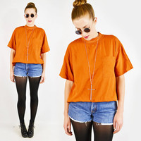 vintage 80s 90s orange EMBROIDERED POCKET OVERSIZED shirt / 80s oversized blouse / 80s oversized top / 80s slouchy shirt / grunge / s m l