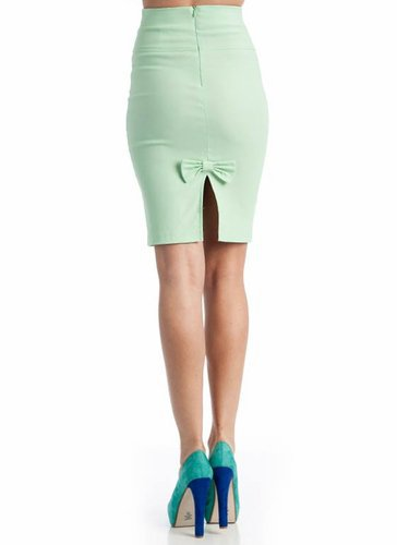 high waist pencil bow skirt &amp;#36;18.40 in BLACK MINT WHITE - Seafoam Green | GoJane.com