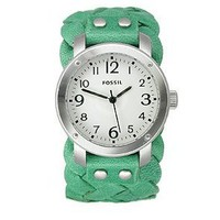 Fossil Woven Leather Seafoam Green Cuff Women's watch
