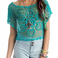 floral crochet cropped top $31.70 in BLACK CORAL JADE - Sheer | GoJane.com