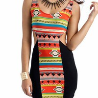 tribal cut-out dress $18.40 in CORALMULTI - Casual | GoJane.com