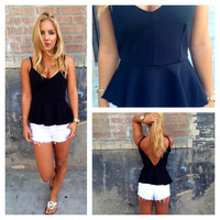 Black Peplum Low Back Tank