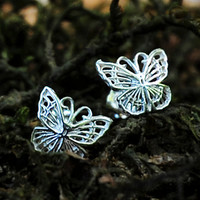 Silver Butterfly Earrings - Sterling Silver Post Earrings - Delicate Pretty Girls Little Small Everyday Wear Gift Studs
