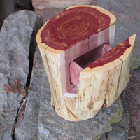 Unique Log Wood Jewelry Box Made Entirely from One Red Cedar Log