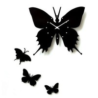 YCC Art Butterfly Wood Wall Clock Color Black