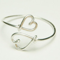 double heart ring- sterling silver wire- custom size- by Dereck Maltez Keoops8 Shop