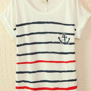 Navy Style Cute Strips T-shirt from topsales