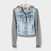 AEO Women's Denim Vested Hoodie (Light Wash)