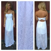 White Strapless Lace Open Back Maxi Dress
