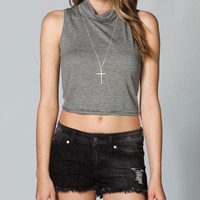 FULL TILT Mock Neck Stripe Womens Crop Top