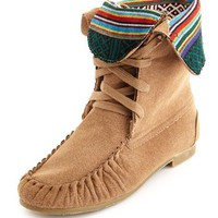 Tribal-Trim Sueded Moccasin Boot: Charlotte Russe