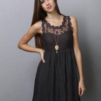 Lovely Lace Dress - Grey Dress