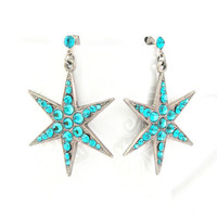 Blue zircon Swarovski color rhinestones star earrings
