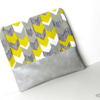 Hybrid Clutch - Foldover Clutch with Brass Zipper - Grey Vegan Leather
