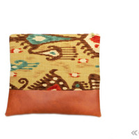 Hybrid Clutch - Ikat Foldover Zippered Clutch - Brown Tan Aqua Rust - Vegan Leather Clutch