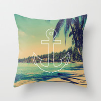 Vintage Summer Anchor Throw Pillow by RexLambo