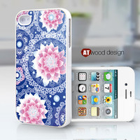 blue background pink flowers unique Hard case Rubber case iphone 4 case iphone 4s case New Iphone 5 case