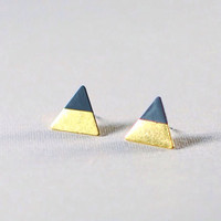 Varnish Dipped Color Block Raw Bronze Triangle Stud geometric simple dainty petite earrings gold color