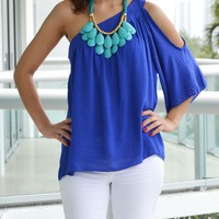 Daphne One Shoulder Cobalt Top