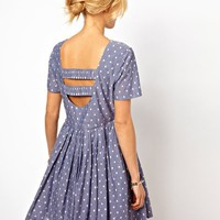 ASOS Skater Dress With Embroidered Spot In Chambray
