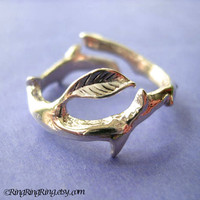 Thorn with leaf ring jewelry Size adjustable 925 by RingRingRing