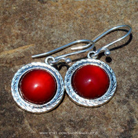Curiosity - Carnelian Cabochon Silver Drop Earrings
