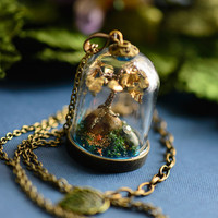 Steampunk Pendant Terrarium Necklace - Gold Leaf Bonsai Tree Miniature