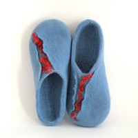 Felted wool slippers  wool clogs  blue and red   size by AgnesFelt