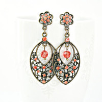 Spicy paparadasha Swarovski color rhinestone and crystal round beads brass filigree earrings