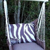Outdoor Indoor Hammock Swing Chair w/ Pillow BROWN White ZEBRA stripes CHZBLT-SP:Amazon:Everything Else