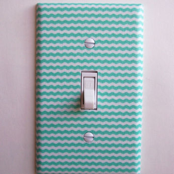 Aqua & White Mini Chevron Stripes Single Toggle Switchplate