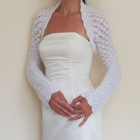 BRIDAL SHRUG WEDDING bolero White mohair Crochet Bolero Jacket