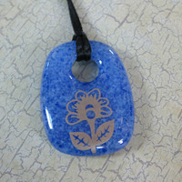 Flower Pendant, Fused Glass Jewelry, Blue Donut, Gold Flower Jewelry - Marigold - 4292 -1