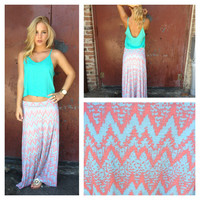 Mint & Coral Chevron Print Roll Down Maxi Skirt
