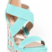 open toe aztec print wedge